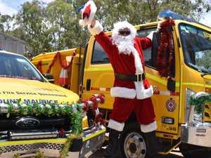 Santa swaps sleigh for fire truck