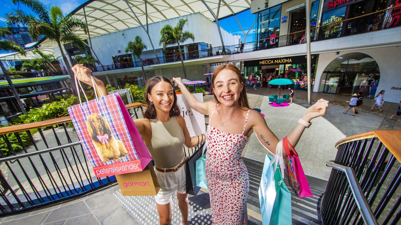 Bridgette Armstrong and Tori Forster are set for the Boxing Day sales. Picture: Nigel Hallett