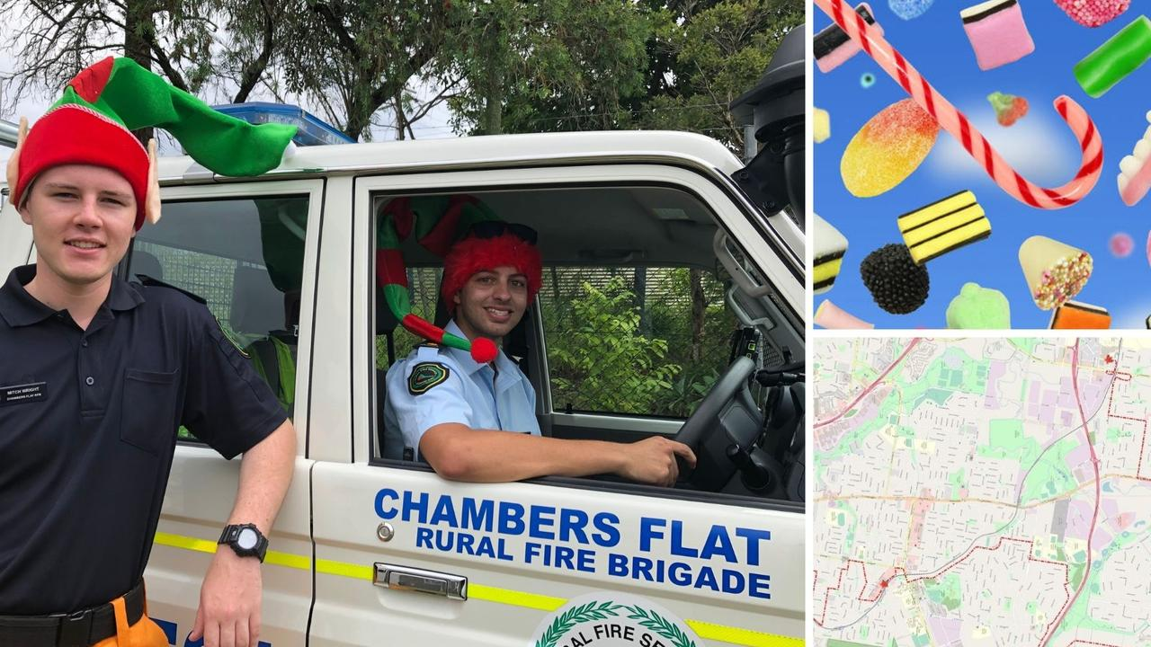 Santa and his emergency services elves shower the streets with lollies and toys.