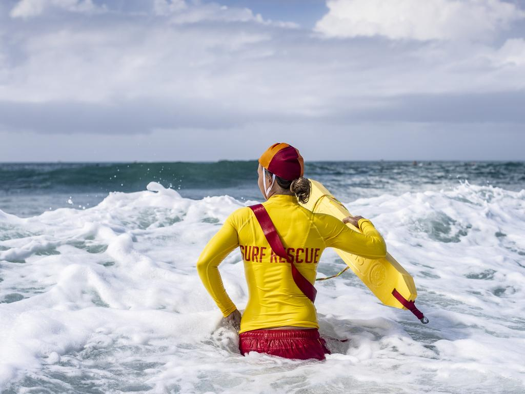 Five swimmers had to be rescued in treacherous waters off Warana on the Sunshine Coast on Friday morning after they were caught swimming outside the red and yellow flags. Picture: Surf Lifesaving Australia