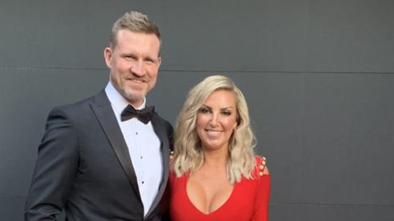 Nathan and Tania Buckley before the Brownlow. Picture: Supplied