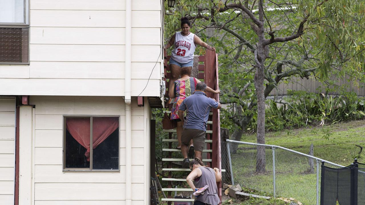 The family is arriving to the house at an alleged domestic violence murder at 8 Hall Street, North Ipswich, Brisbane, 26th of December 2020. (News Corp/Attila Csaszar)