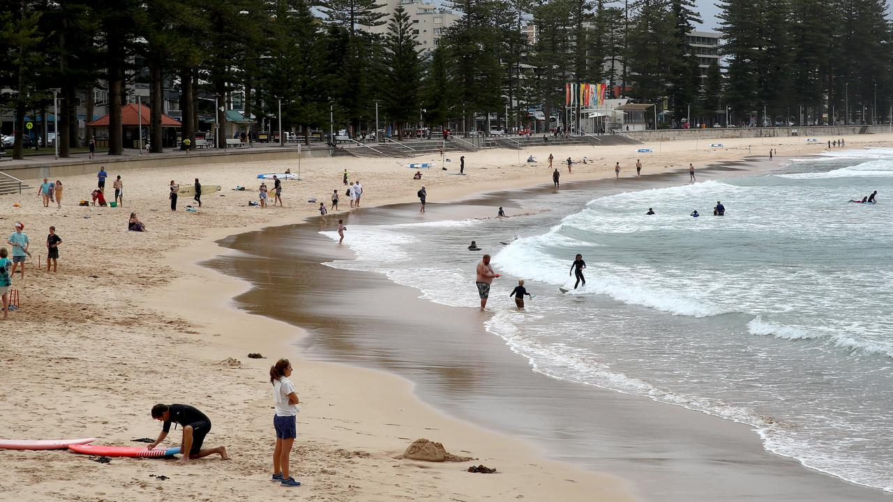 By contrast, Manly beach was nearly empty after the recent COVID outbreak in the northern beaches. Picture: Toby Zerna