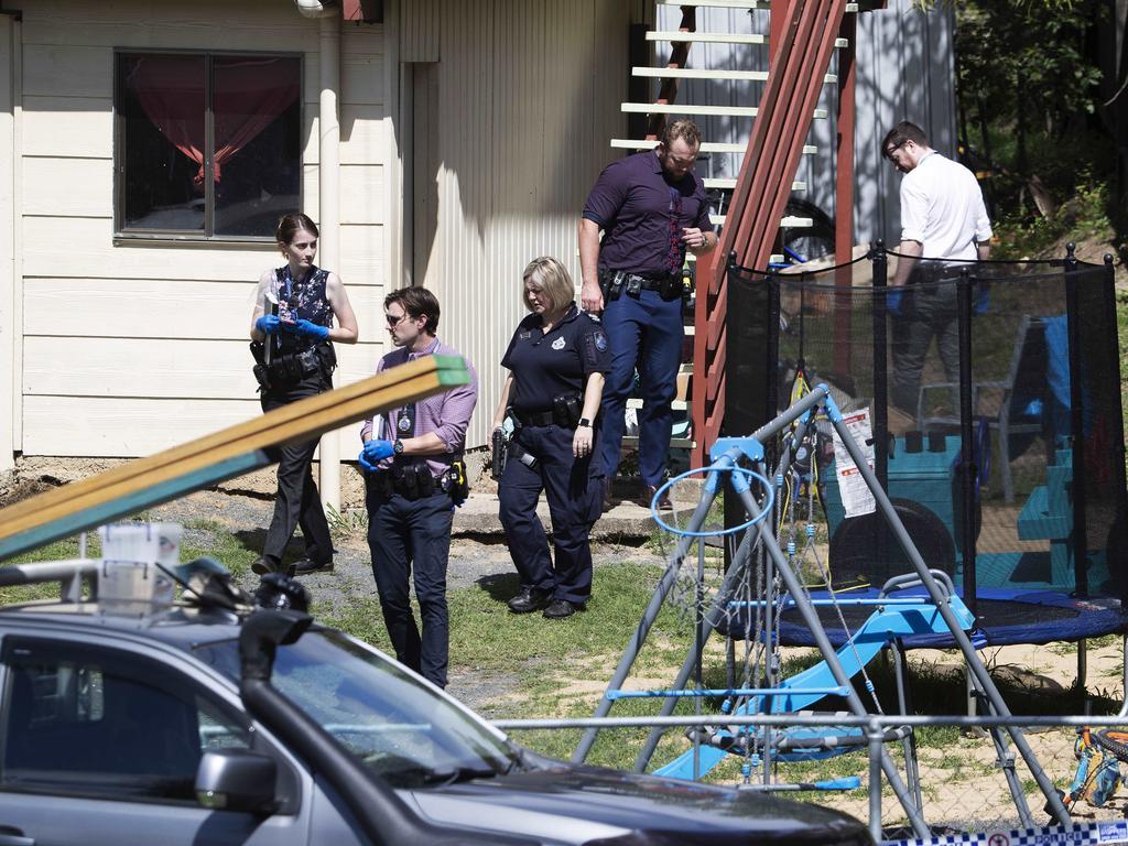 Police at the scene in Hall St, North Ipswich. Picture: Attila Csaszar/NCA NewsWire