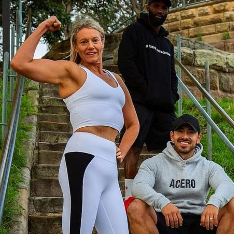 Katie with celebrity trainer Jono Castano and bodybuilding coach Alex Jalloh.
