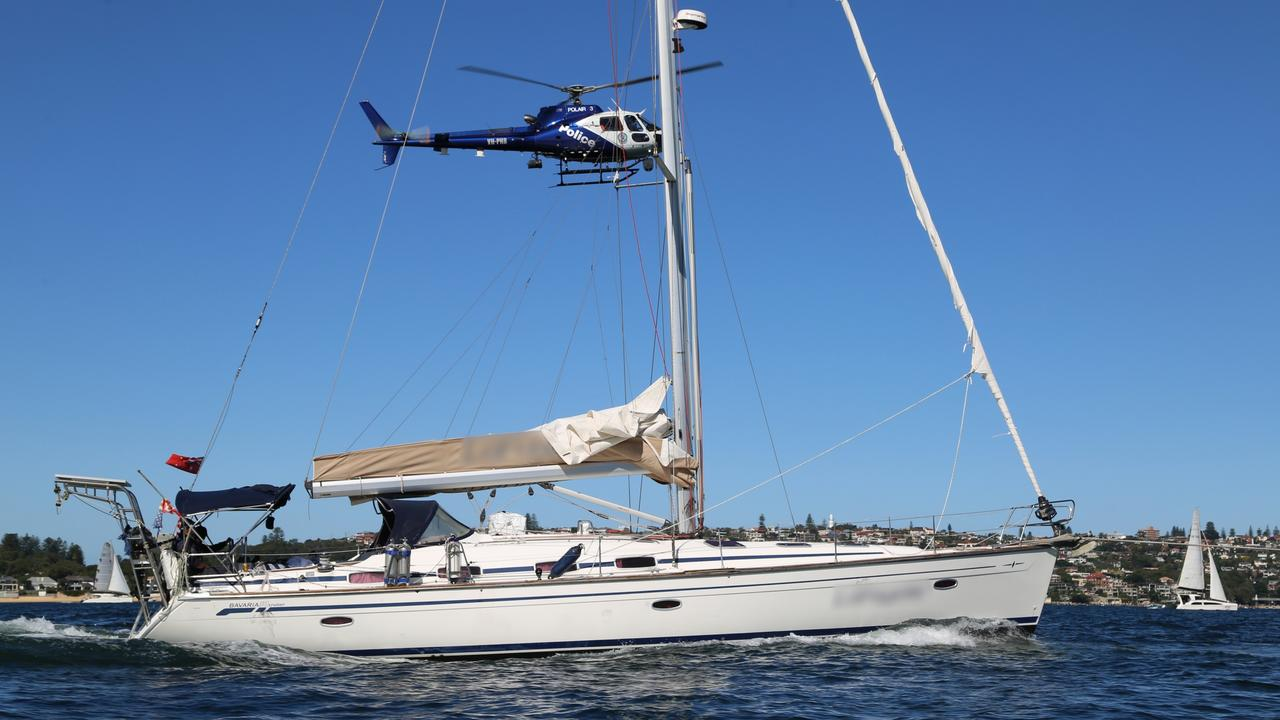 A yacht that was intercepted off the NSW coast that police will allege contained drugs. Picture: Police Media