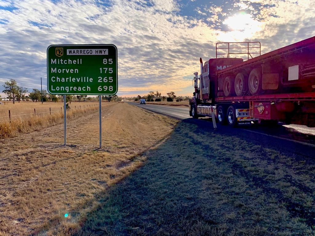 A LONG ROAD: The Warrego Highway between Roma and Charleville is the least trafficked stretch, but has experienced many traffic incidents over the past 12 months. Picture: Lachlan Berlin