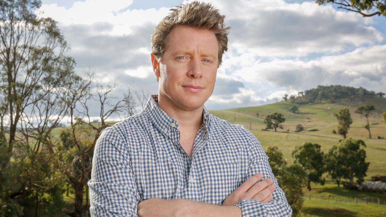 Barefoot Investor Scott Pape at his farm in rural Victoria. Picture: Nicole Cleary