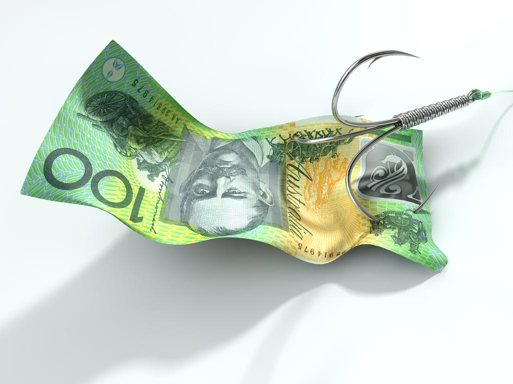A concept image showing a one hundred australian dollar banknote used as bait attached to a treble fishhook and fishing line on an isolated white background; scams, scammer, Australian money fraud generic