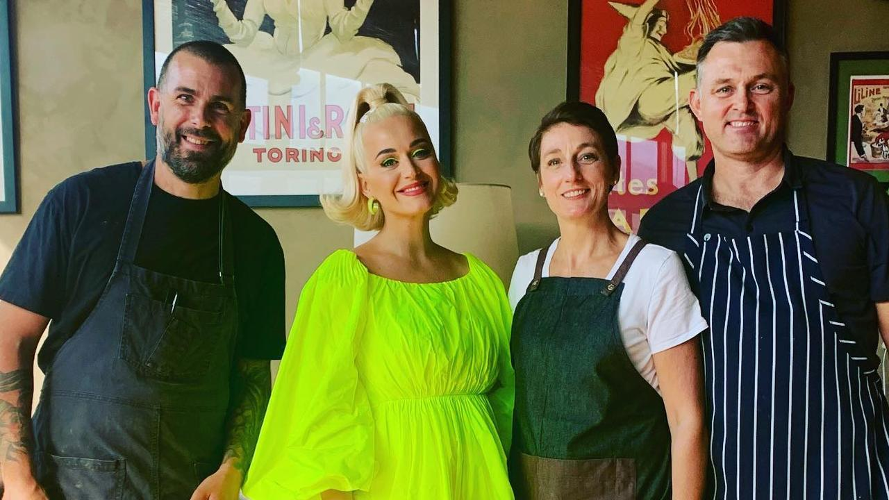 Perry with Villa Gusto staff on the day of her concert. Picture: Villa Gusto Facebook