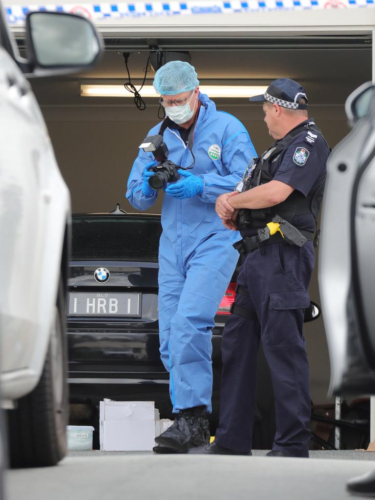 Police at the scene of Shane Bowden's death. Picture: Glenn Hampson.
