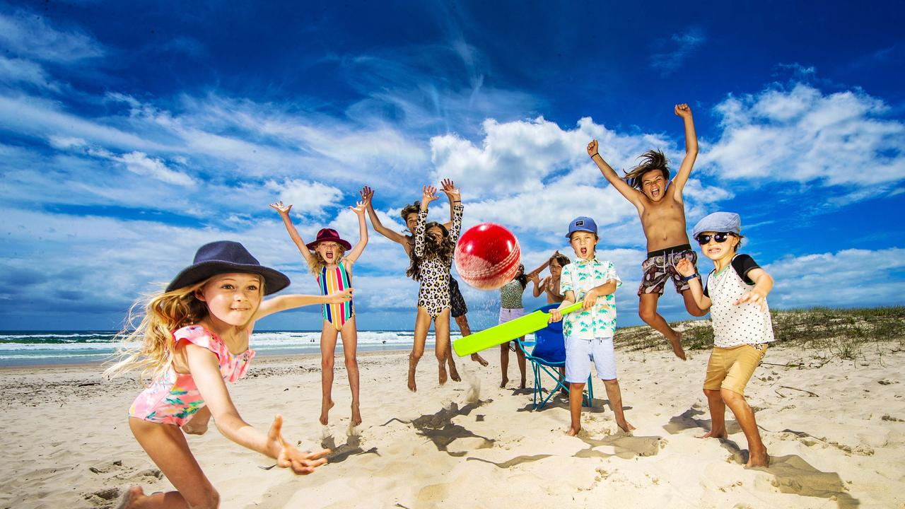 The Peterson family from Currumbin celebrate their annual Boxing Day Test at Currumbin beach. Eadie, 10, Mabel, 6, Jack, 16, Ruby, 12, Hugh, 11, Finn, 9, Wes, 7, Will, 13 and Elkie Peterson, 8. Picture: Nigel Hallett.