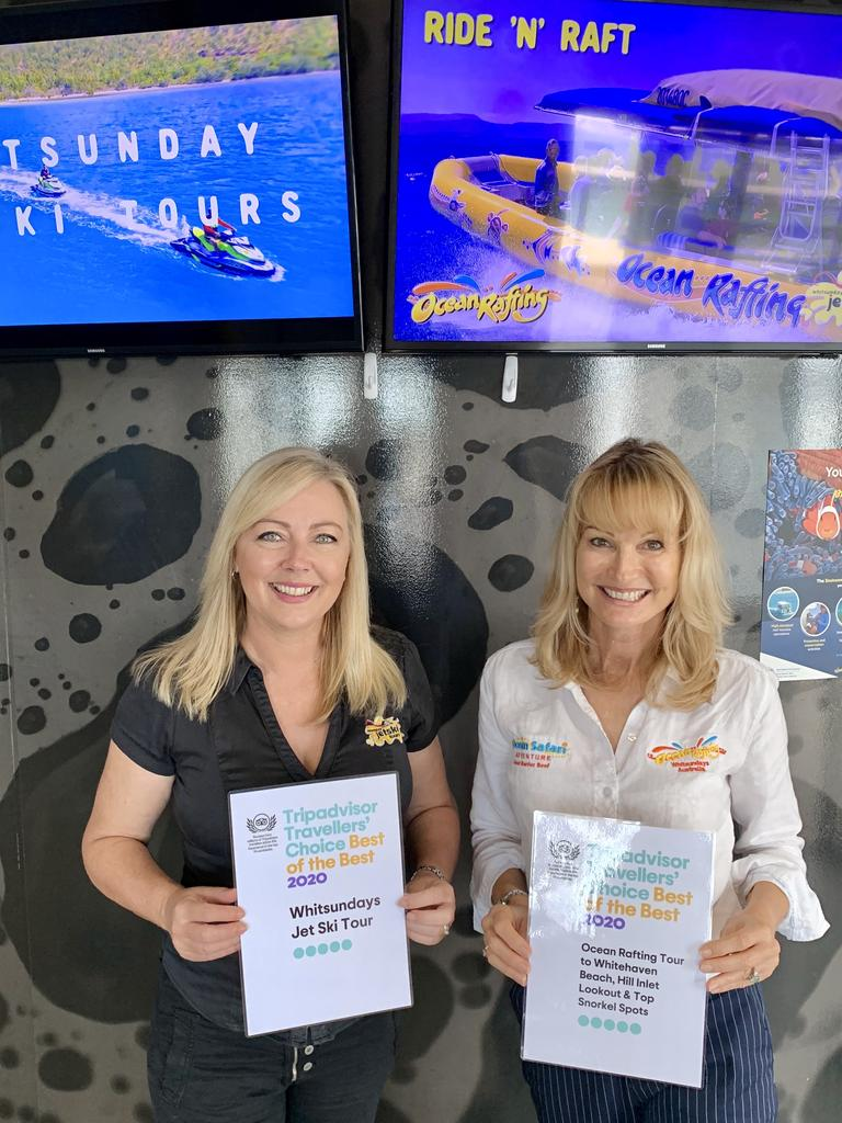 Whitsunday Jetski Tours owner Toni Ward and Ocean Rafting owner Jan Claxton after the businesses were named 2020 Travellers' Choice Best of the Best award winners.