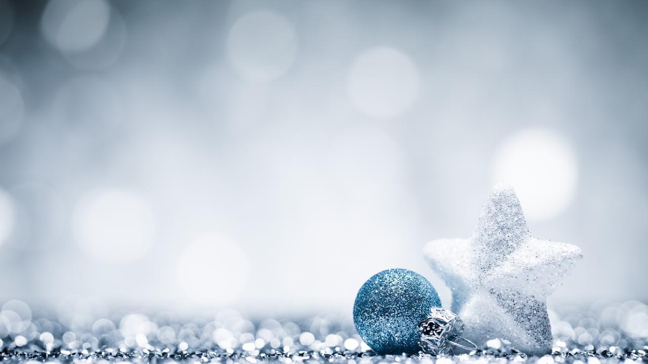 Glittery Christmas decorations.