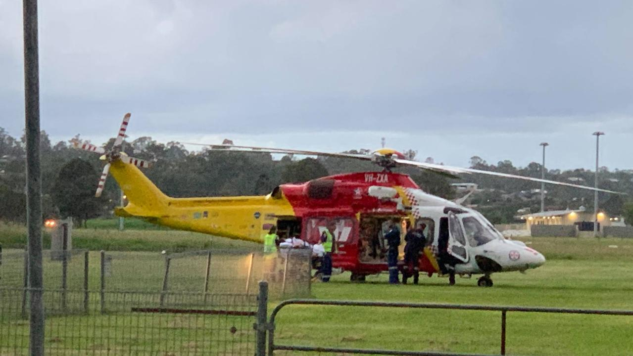 The Westpac Rescue Helicopter picks up a patient from the South Grafton Airfield