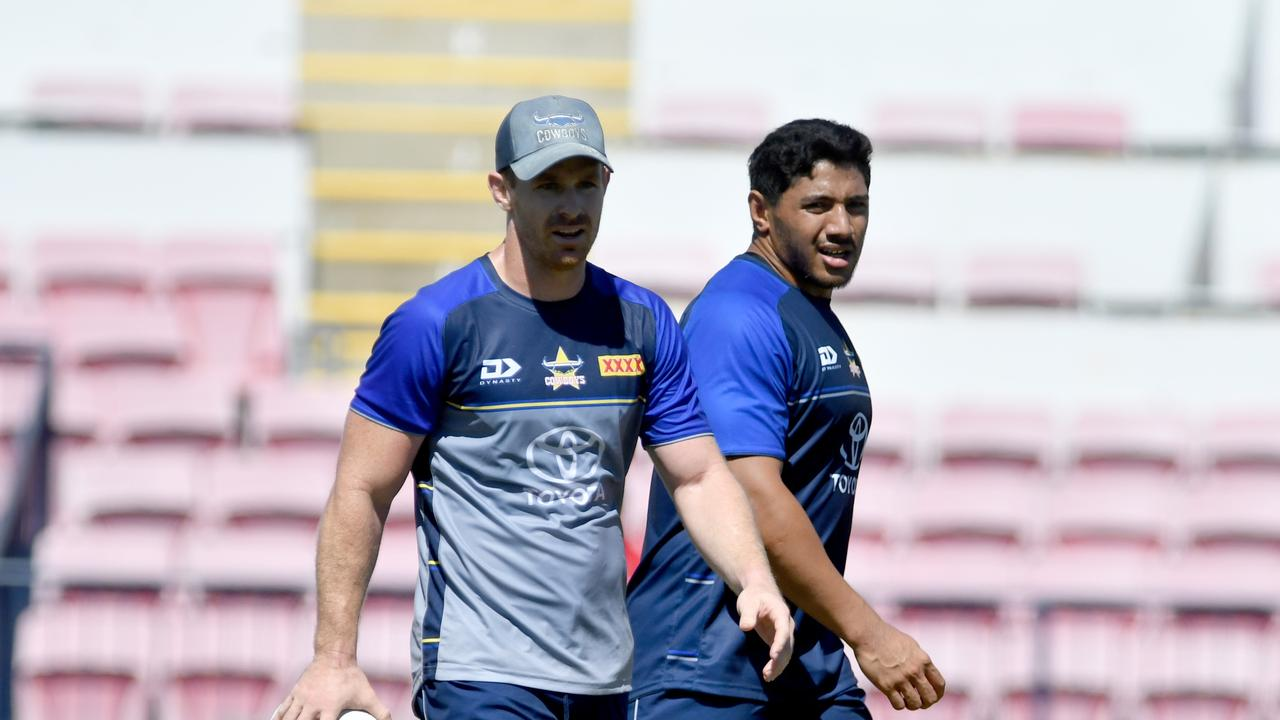 North Queensland Cowboys pre-season training at the former 1300Smiles Stadium. Michael Morgan and Jason Taumalo. Picture: Evan Morgan