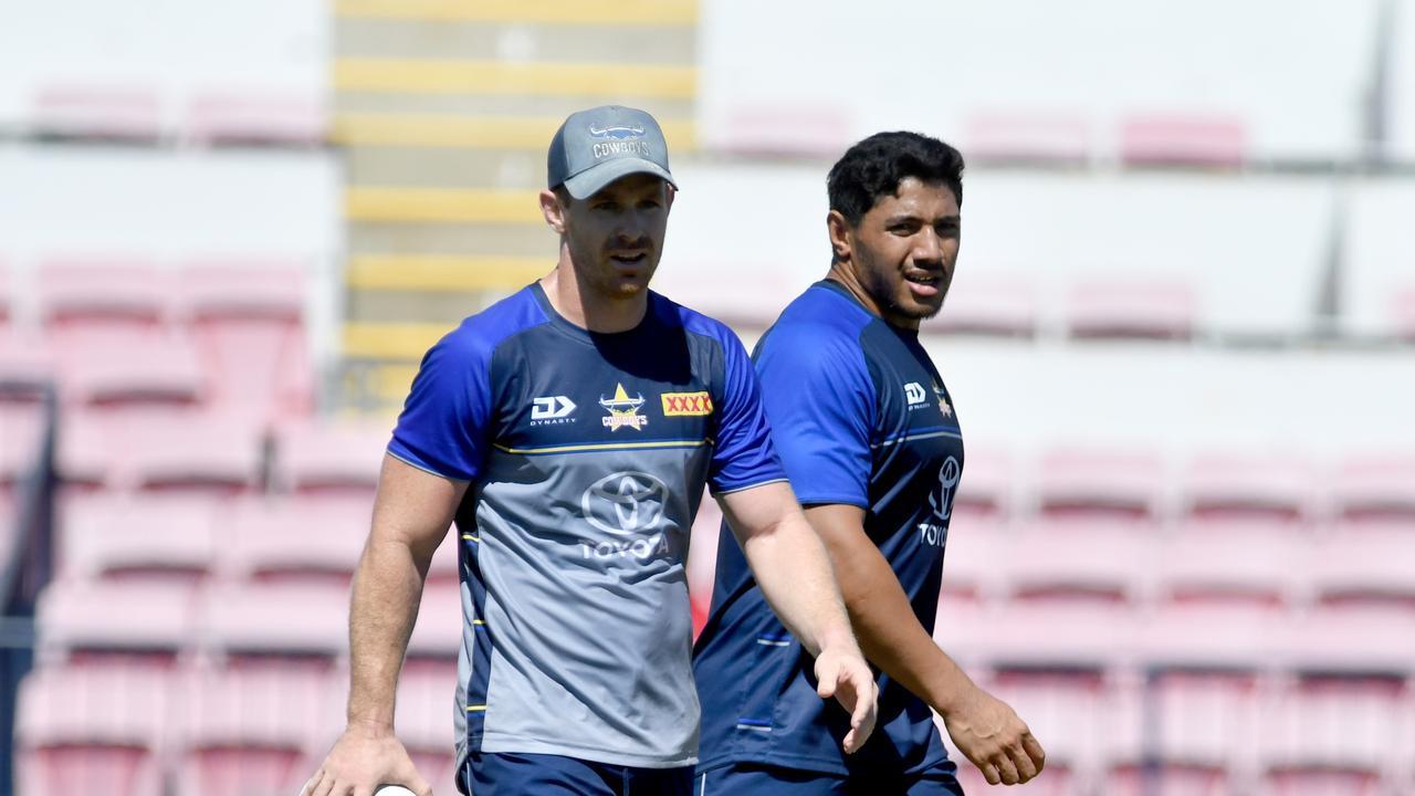 North Queensland Cowboys pre-season training at the former 1300Smiles Stadium. Michael Morgan and Jason Taumalo. Picture: Evan Morgan