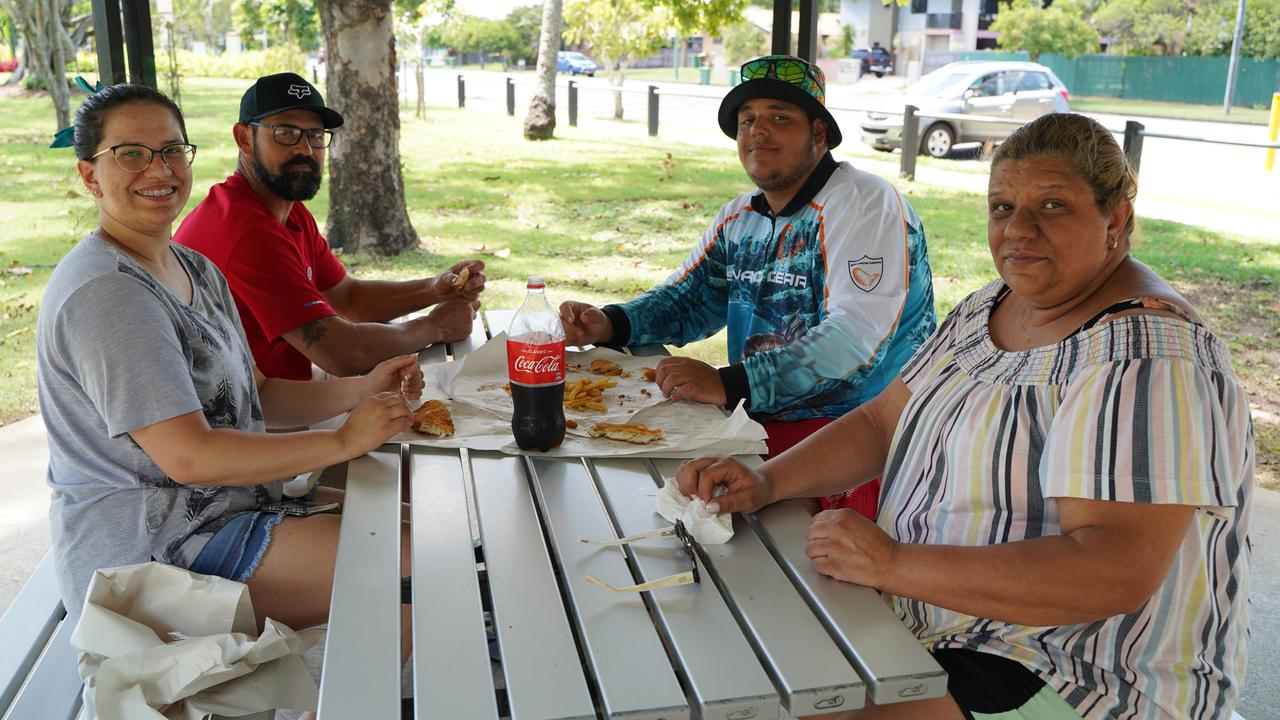 Pamela Sampaio, Valdinei Sampaio, Paulo Sampaio and Eliana Sampaio, relaxing at Queens Park, Mackay, with some fish and chips, while on holidays from Toowoomba. Picture: Heidi Petith