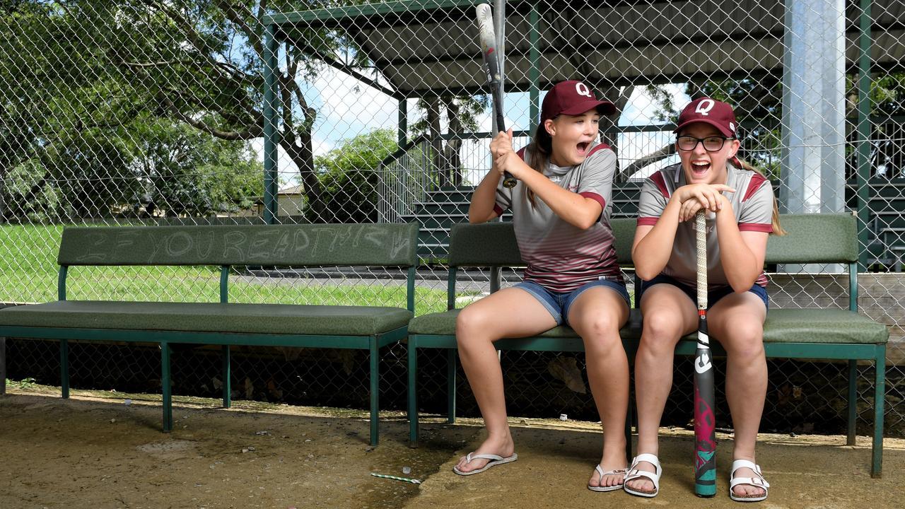 Australian under-15 softball representatives Lianna Doyle (left) and Charlotte Gaddes share a laugh. Picture: Rob Williams