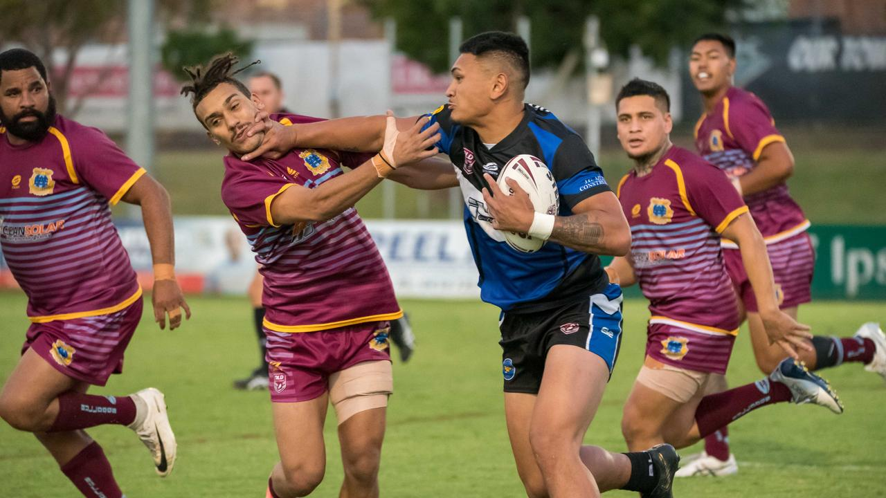 Action from the Rugby League Ipswich Volunteers Cup semi-final between Goodna Eagles and West End Bulldogs. Picture: Bruce Clayton