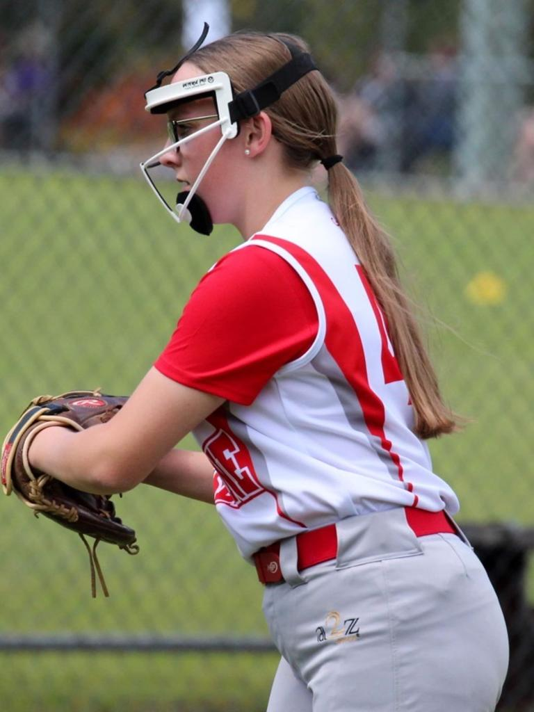 Ipswich and Australian Diamonds under-15 softballer Charlotte Gaddes pitching for Brisbane in the grand final at the state under-16 titles.