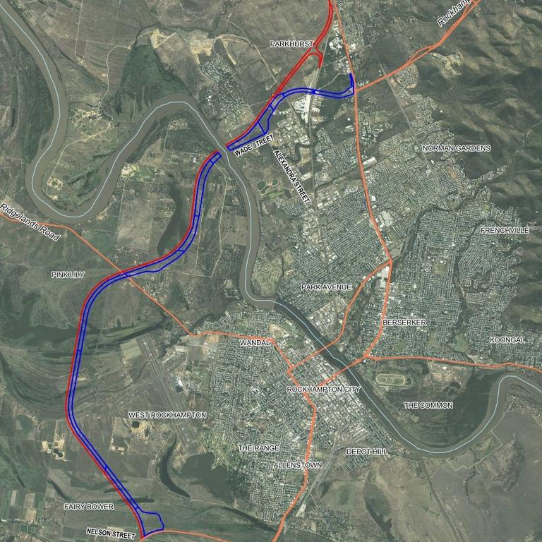 Close up view of the alignment of the Rockhampton Ring Road and Western Road Rail Corridor.