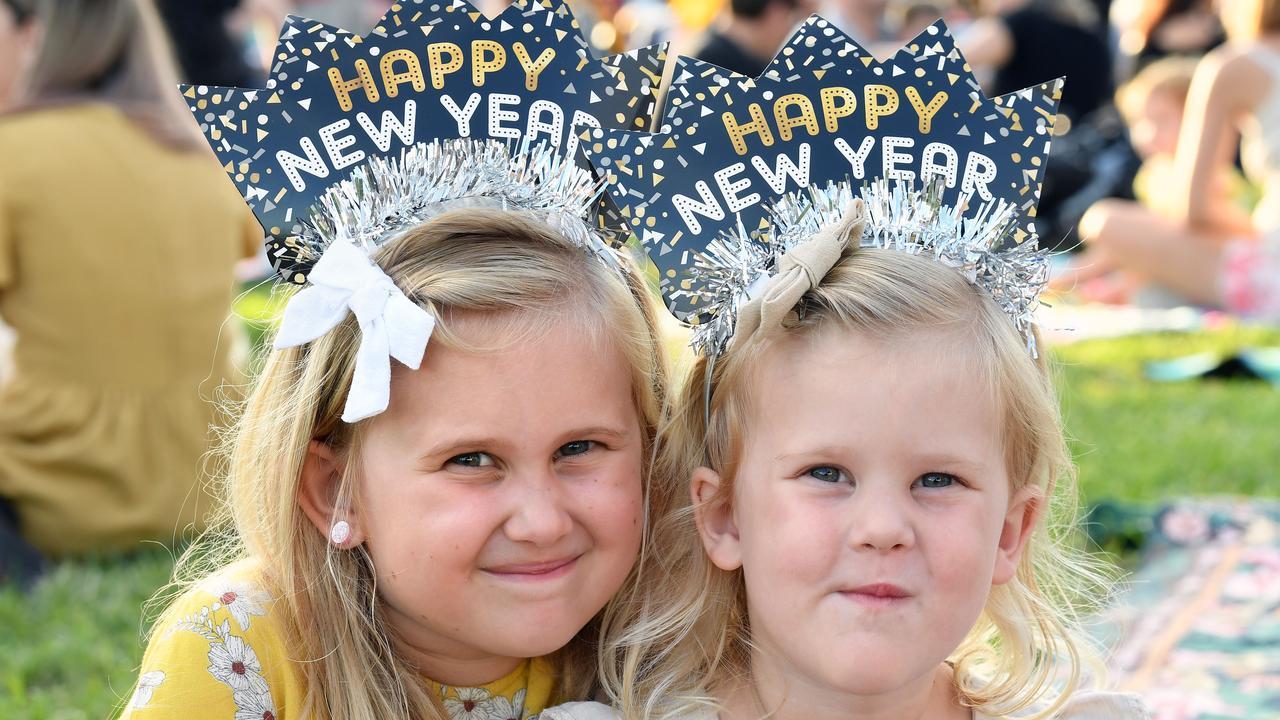 Mia Jones, 7, and Hailee Jones, 4, at last year's Mackay New Years Eve celebrations. Picture: Tony Martin