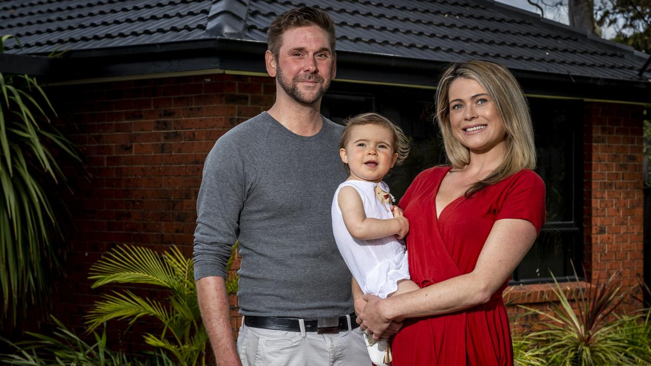 Chloe Hirzel, 32, and her husband Thomas Hirzel, 34, and daughter Eva, 18 months, both accessed their superannuation early under the Federal Government's scheme. Picture: Jake Nowakowski