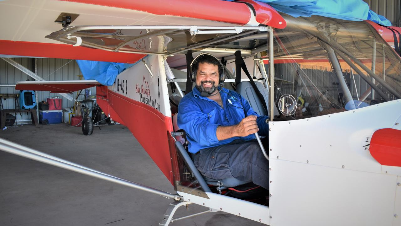 Airlie Beach resident Ivan Lizarralde with his plane under the hangar at Lakeside Airfield, Whitsunday Park Estate, Bloomsbury. Picture: Heidi Petith