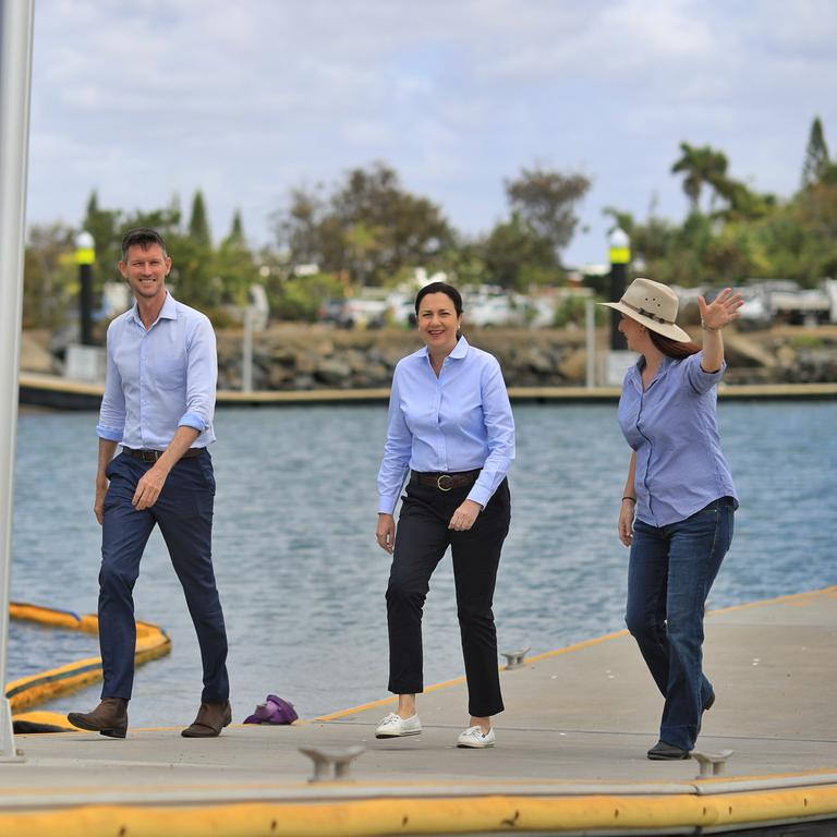 ELECTION COMMITMENT: Keppel MP Brittany Lauga was joined by Premier Annastacia Palaszczuk and Transport Minister Mark Bailey to announce a $2 million election commitment to upgrade Rosslyn Bay Boat Harbour.