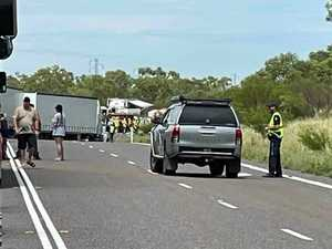 Road train smash leaves woman, teen dead