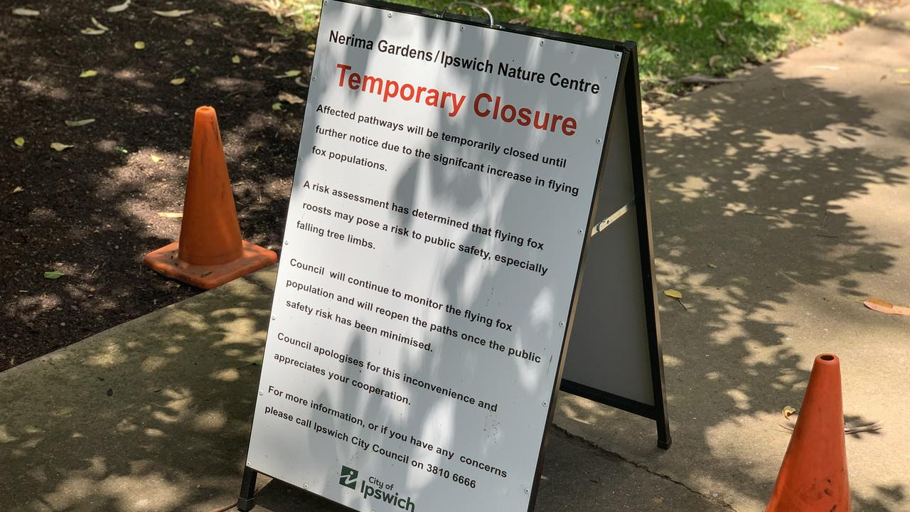 A sign at the site informs visitors of the temporary closures.