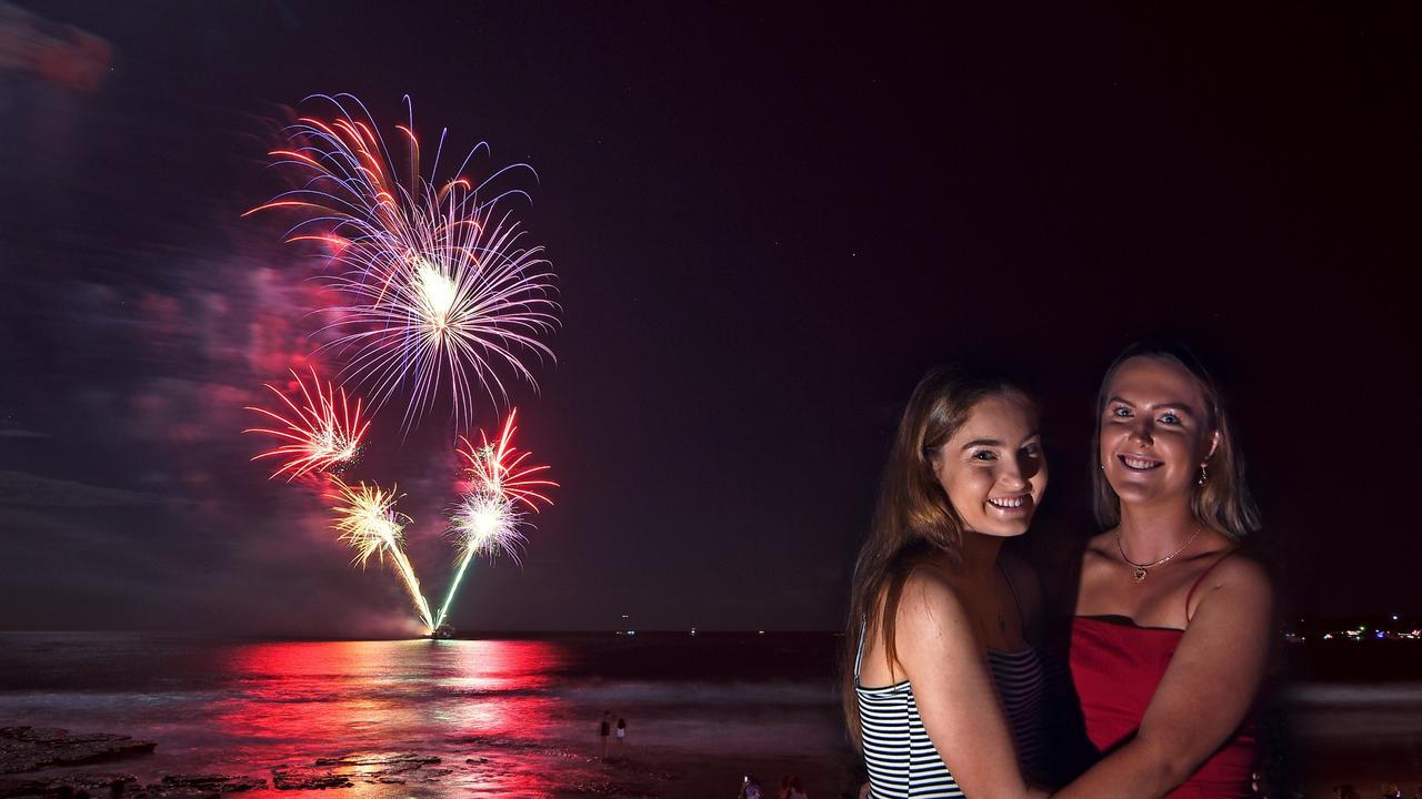 Amy Crouch and Grace Lyons enjoy the New Year's Eve fireworks at Mooloolaba. Picture: File photo