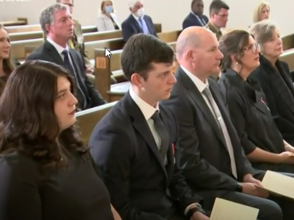 Family members at the state funeral for Major General Philip Michael Jeffrey AO held in the ACT. Photo: ABC