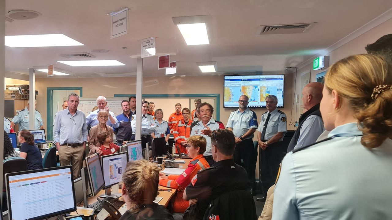 FLOOD BRIEFING: Lismore MP Janelle Saffin, together with Page MP Kevin Hogan, Deputy Prime Minister Michael McCormack and Lismore Deputy Mayor Cr Neil Marks receive a briefing on damage from floods across the Northern Rivers region.