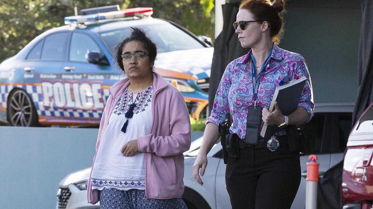 Sabita Neupane leaves Morningside Police Station on Sunday. Picture: News Corp/Attila Csaszar