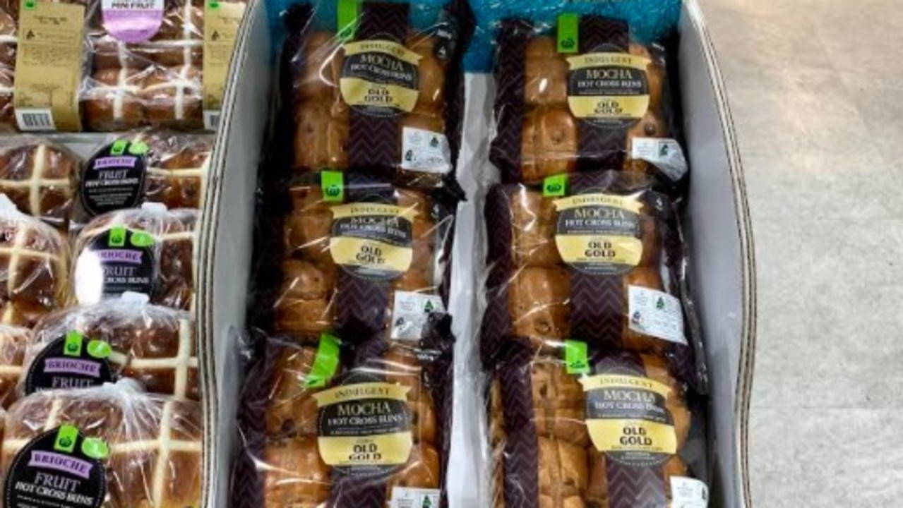 Woolworths unveils new hot cross buns made from Australian pink lady apples. Picture: Woolworths