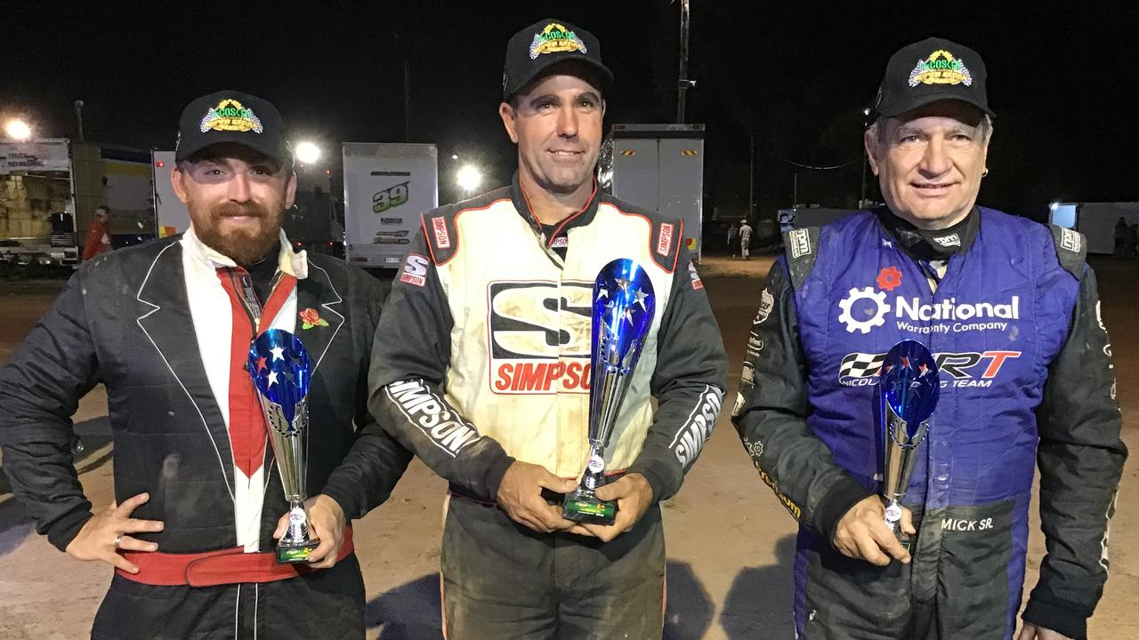 Ipswich speedway racer Mat Pascoe (middle) won the latest final in Bundaberg. He's pictured with second placegetter Nicholas O'Keefe (left) and third placegetter Mick Nicola. Picture: Vic Pascoe