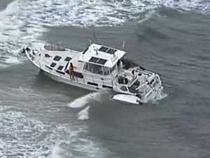 Man found clinging to water beacon after ship runs aground