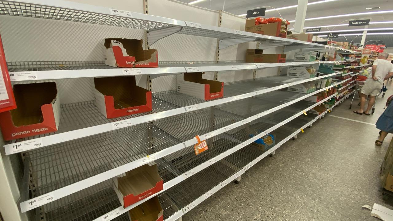 The shelves in supermarkets across Australia were stripped bare. Photo: Richard Goslingg