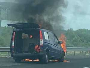 Bruce Hwy closed after van catches fire near Aussie World