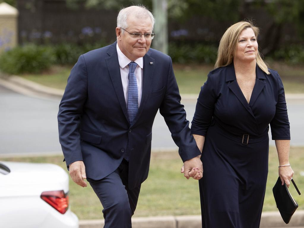 Prime Minister Scott Morrison and his wife Jenny at the state funeral for former Australian governor general Michael Jeffery.