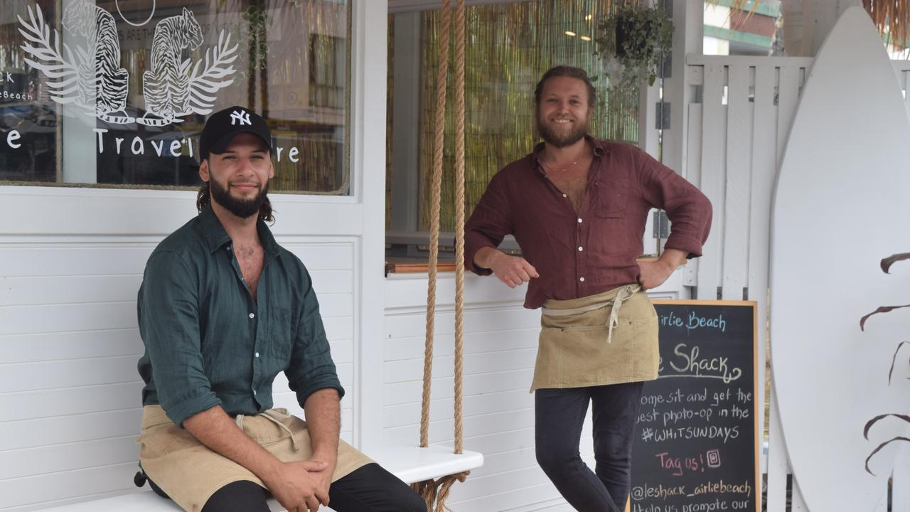 Owners of Le Shack James Kontis and Jordan de Mamiel hoped the new cafe would be a fun and social hangout for residents and visitors alike. Picture: Laura Thomas