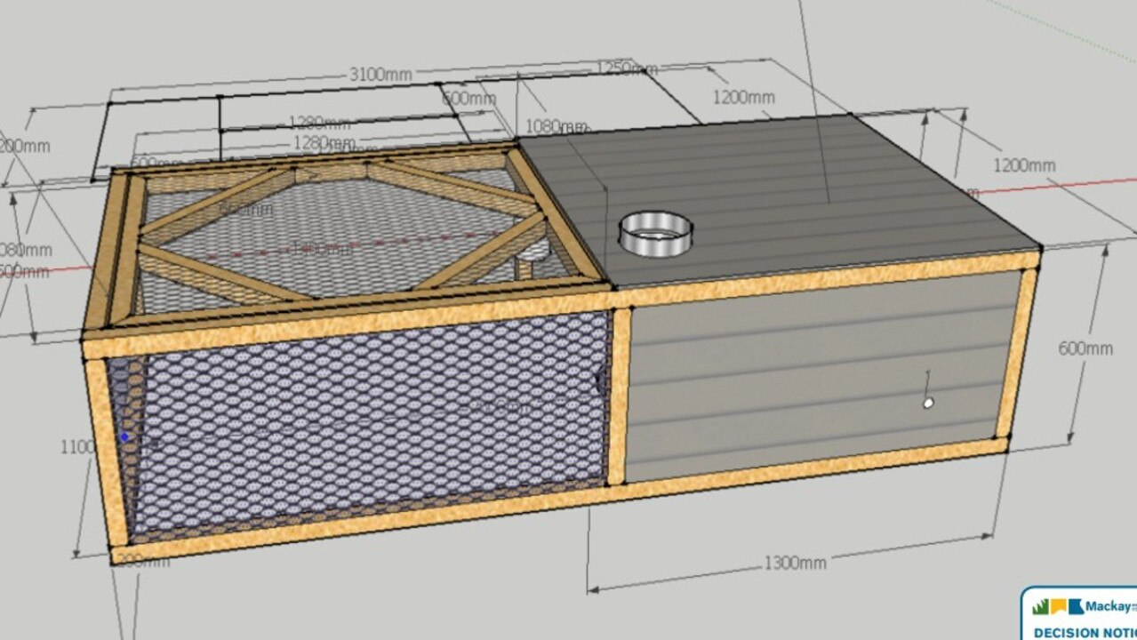 Plans for the mobile chicken caravans which will house up to 100 chickens each on a Mt Ossa poultry farm.
