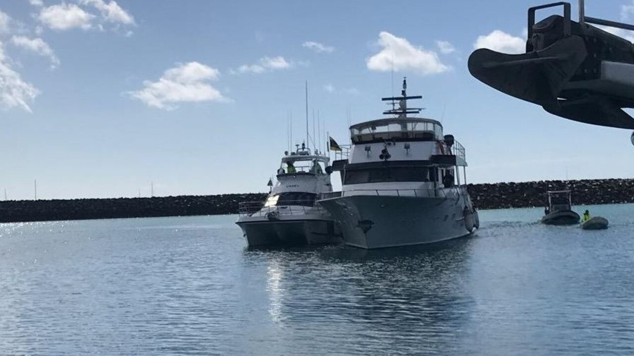VMR Whitsunday towed an 18m vessel into Coral Sea Marina from Grimston Point this year in what is the heaviest rescue with its latest vessel. Picture: Supplied
