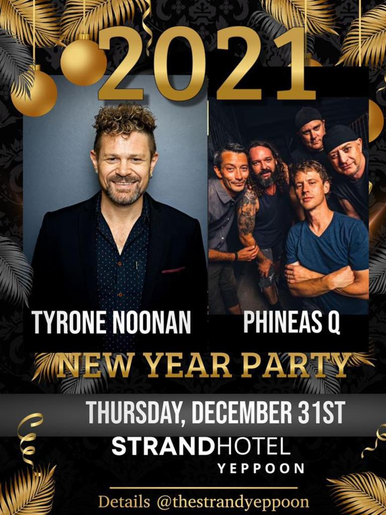 The Strand Hotel's New Year's Eve party will be hosted by Aria award-winning Artist Tyrone Noonan and feature special guests Phienas Q.