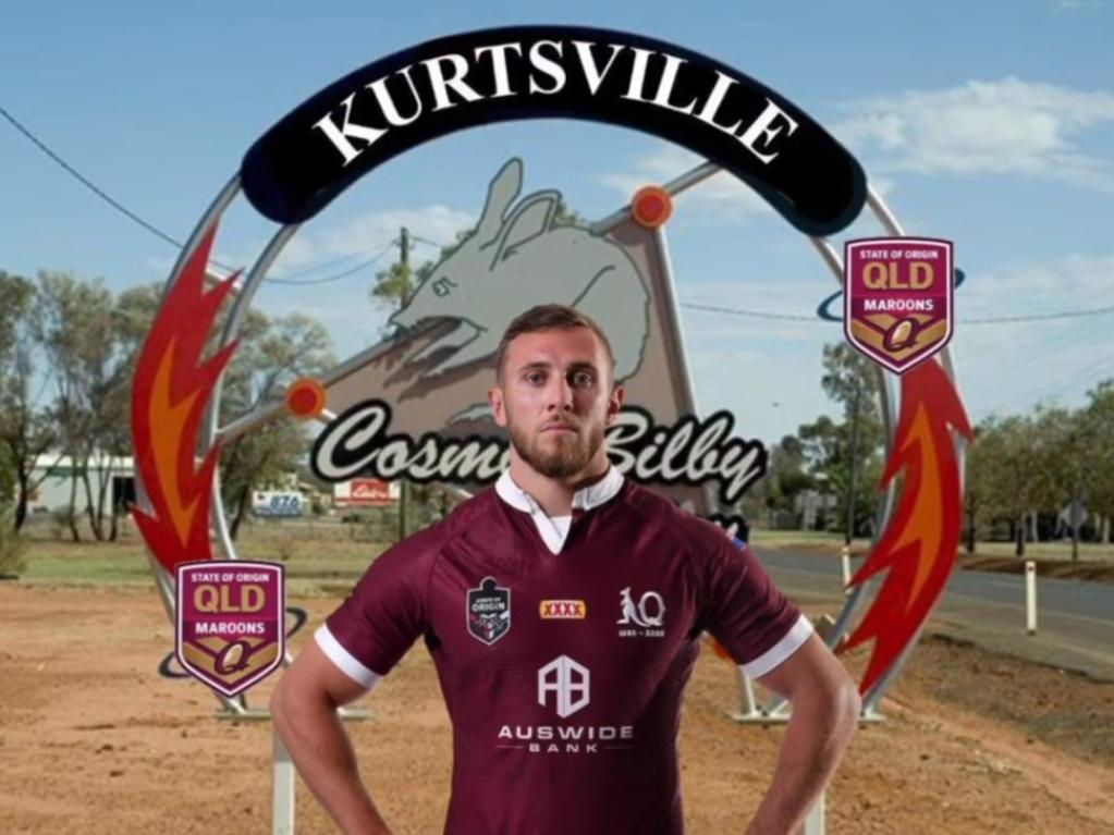 Charleville has cheekily renamed itself Kurtsville in honour of their local State of Origin legend Kurt Capewell. Pic: Facebook