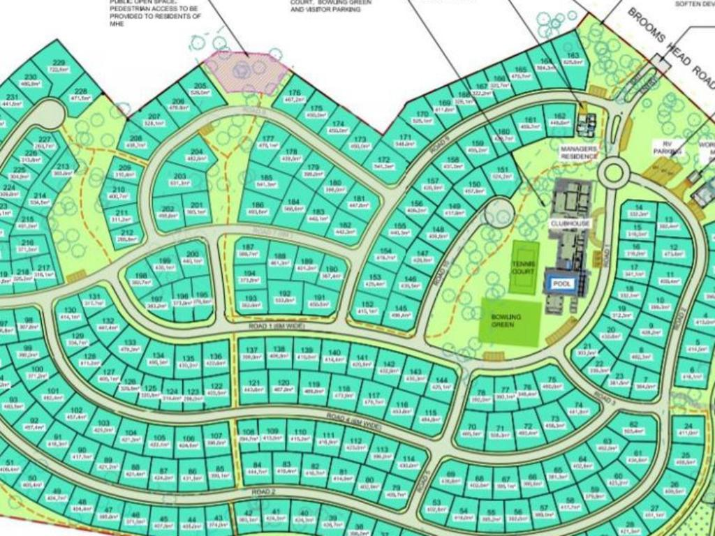 The original plan for the Gulmarrad Manufactured Homes with 255 residences.