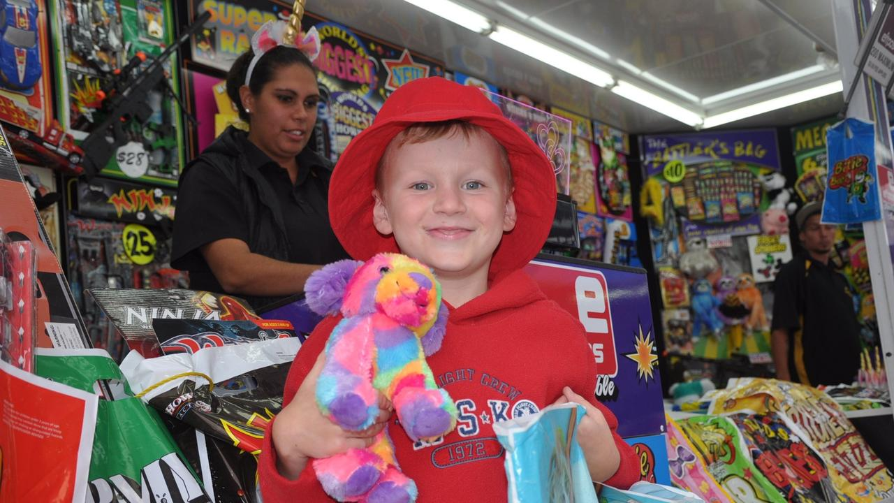 Tyler Olive enjoys the showbags at the Yeppoon Show. FILE PHOTO.