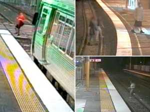 Terrifying video shows near misses with oncoming trains